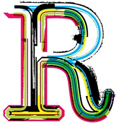 Grunge colorful font Letter R vector