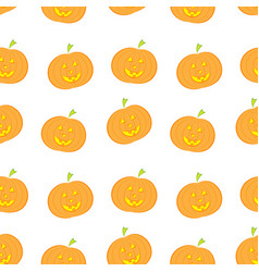 halloween pumpkin seamless pattern in modern flat vector image