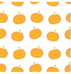 halloween pumpkin seamless pattern in modern flat vector image