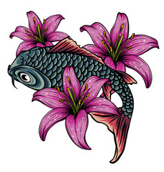 hand drawn koi fish with flower tattoo for arm vector image