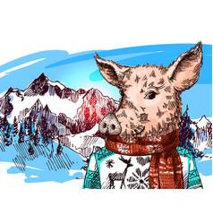 Hand drawn pig sketch symbol vector