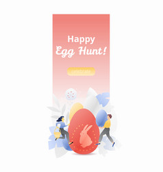 happy egg hunt vertical banner vector image