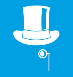 Hat with monocle icon white vector