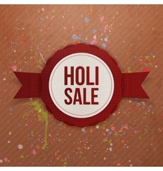 Holi Sale red circle Banner with Ribbon vector