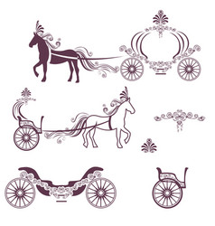 Horse with a carriage vector