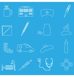 hospital and sick outline icons set eps10 vector image