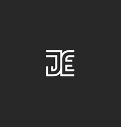 initials je or ej letters creative logo vector image