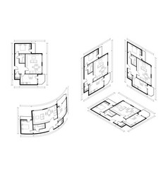 isometric architect blueprint plan home vector image