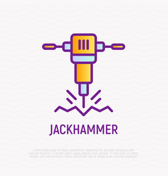jackhammer thin line icon vector image