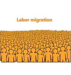 Labor migration poster a crowd orange abstract vector