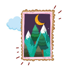 landscape with snow mountain square frame on night vector image