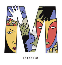 letter m with masks vector image