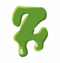 Letter Z made of green slime vector image