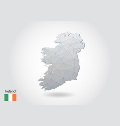 Map ireland with trendy triangles design in vector