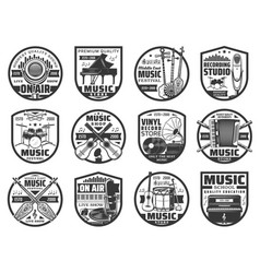 musical instruments sound record icons vector image