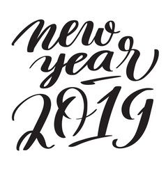 new year 2019 hand-written text typography vector image