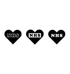 Nhs word text lettering in heart love shape vector