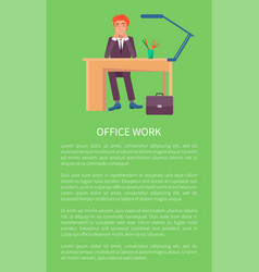 Office work banner text sample and cheerful male vector
