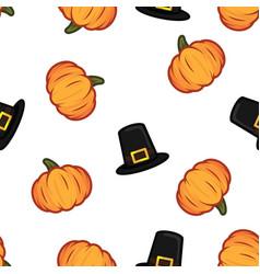 orange pumpkin and black witch hat halloween vector image