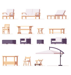 Patio and outdoor furniture set vector