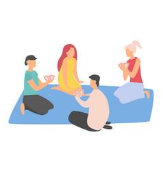 People gambling friends leisure on mat vector