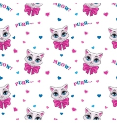 Pretty seamless pattern with cute kitty vector image