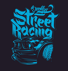 Racing car typography t-shirt graphics lettering vector
