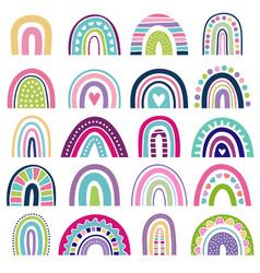 rainbow shapes kids logos in scandinavian vector image