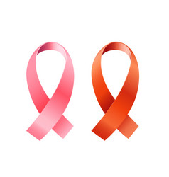 red and pink ribbons set aids and cancer vector image