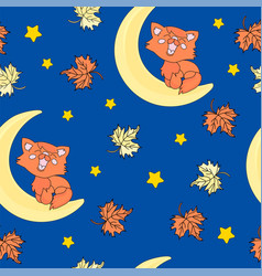 red cat autumn seamless pattern color vector image