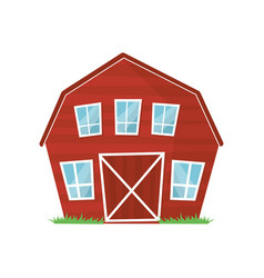 Red wooden farm barn with big windows for keeping vector