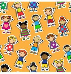 Seamless orange background with Cartoon children vector
