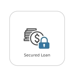 Secured Loan Icon Flat Design vector image