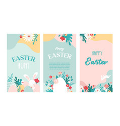 set easter floral backgrounds with copy vector image