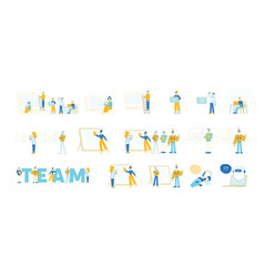 set male and female characters team work vector image
