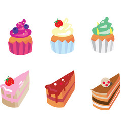 set of appetizing cakes vector image
