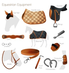 Set of equestrian equipment vector