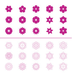 Set of flower icons vector