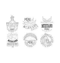 set of monochrome logos related to mexican cuisine vector image