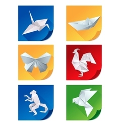 Set of white origami animal icons vector image