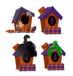 set of wooden birdhouses with a bat inside vector image