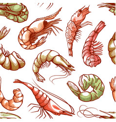 Shrimp sea shellfish seamless seafood cuisine vector