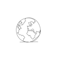 single one line drawing round globe earth vector image