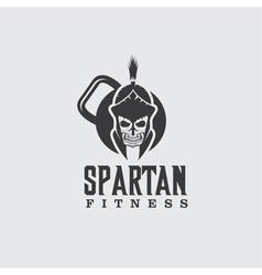 Skull spartan warrior fitness design template vector