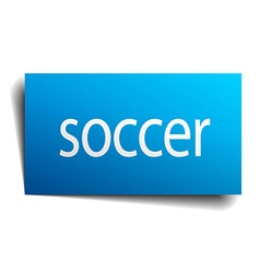 Soccer blue square isolated paper sign on white vector
