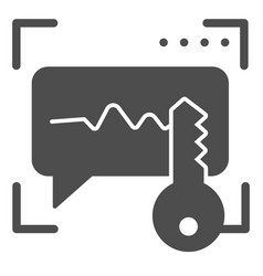 Sound recognition and key solid icon voice vector