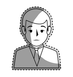 sticker silhouette half body man formal style vector image