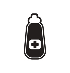 Stylish black and white icon medicine bottle vector
