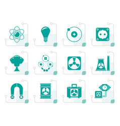 Stylized atomic and nuclear energy icons vector