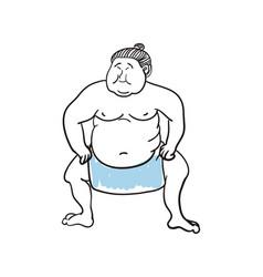 sumo wrestler hand drawn icon vector image
